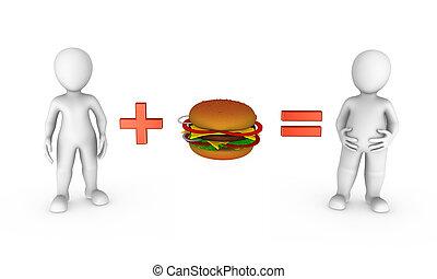 3D kleine Leute mit Hamburger.