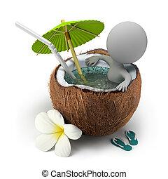 3d kleine Leute nehmen ein Bad Kokosnuss