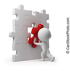 3d kleine Leute - Puzzleeinfügung