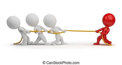 3d kleine Leute - Seil ziehen