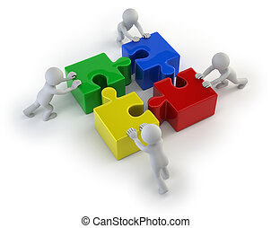 3d kleine Leute - Team mit den Puzzles.