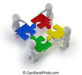 3d kleine Leute - Team mit den Puzzles in den Händen.
