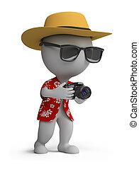 3d kleine Leute - Tourist mit Kamera
