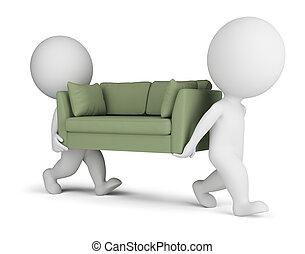 3d kleine Leute tragen ein Sofa