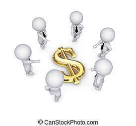 3d kleine Leute um das Dollarzeichen herum.