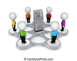 3D kleine Leute um den Geldautomaten