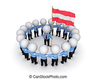 3d kleine Leute um die amerikanische Flagge herum.