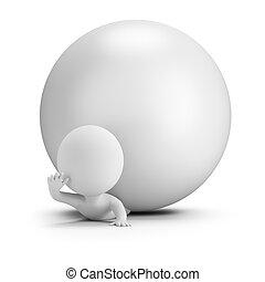 3d kleine Leute - von einem Ball gefangen