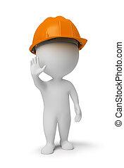3d kleine Menschen - Arbeiter in einer Stopp Pose