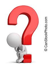 3d kleine Menschen - Denker, die auf der Frage sitzen