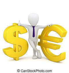 3d kleine Menschen - Dollarzeichen und Euro.