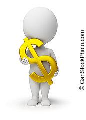 3d kleine Menschen - ein Dollar-Symbol in den Händen