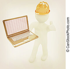 3D kleine Menschen - ein Ingenieur mit dem Laptop . 3D Illustration. Vintage Style.