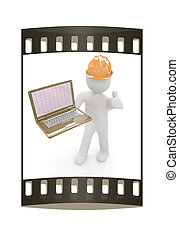 3D kleine Menschen - ein Ingenieur mit dem Laptop. Der Filmstreifen