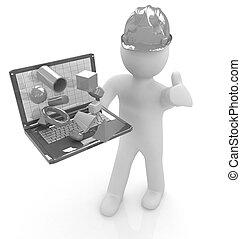 3D kleine Menschen - ein Ingenieur mit dem Laptop präsentiert 3D Capabi.