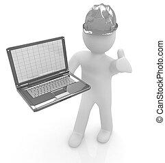 3D kleine Menschen - ein Ingenieur mit dem Laptop.