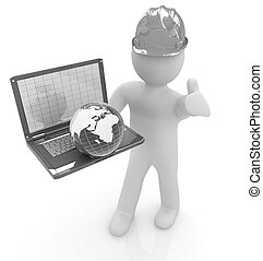 3D kleine Menschen - ein internationaler Ingenieur mit dem Laptop und.