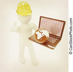 3D kleine Menschen - ein internationaler Ingenieur mit Laptop und Erde . 3D Illustration. Vintage Style.