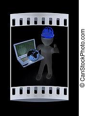 3D kleine Menschen - ein internationaler Ingenieur mit Laptop und Erde. Der Filmstreifen