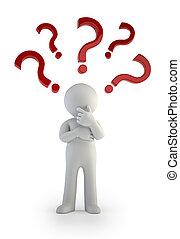 3d kleine Menschen - Fragezeichen. Verwirrung