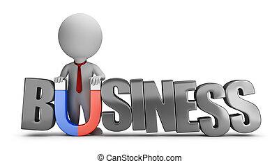 3d kleine Menschen - Geschäftsmagnet