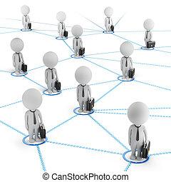 3d kleine Menschen - Geschäftsnetzwerk