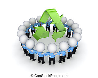 3d kleine Menschen rund um das Recyclingsymbol.