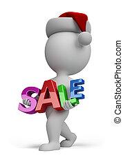 3d kleine Menschen - Santa trägt Schild SALE
