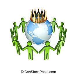3d kleine Menschen stehen rund um den Globus.