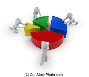 3d kleine Menschen - Teamarbeit Statistiken.