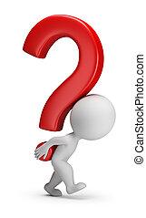 3d kleine Menschen - trägt das Fragezeichen