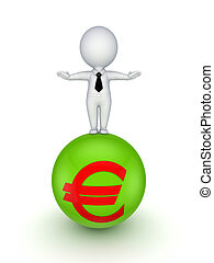 3d kleine Person auf einer Kugel mit Eurozeichen.