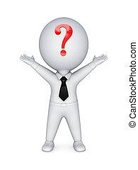 3d kleine Person mit einem Fragezeichen an den Händen.