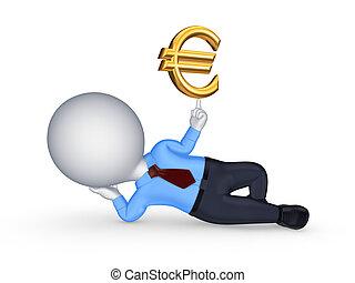 3d kleine Person mit einem Zeichen des Euro.
