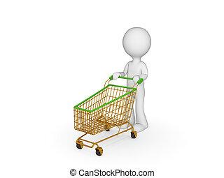 3d kleine Person mit Einkaufswagen.
