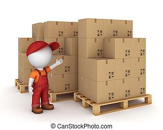 3D kleine Person und Kartons.
