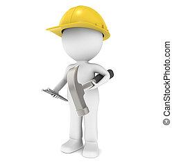 3D kleiner Mensch, der Bauarbeiter