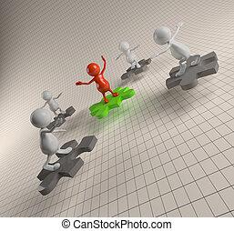 3D-Leute arbeiten mit Puzzle zusammen.