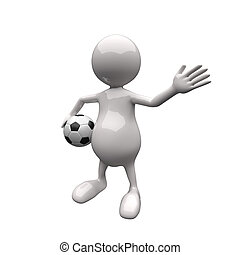 3D Leute halten Football