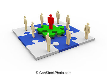 3D-Leute im Puzzle