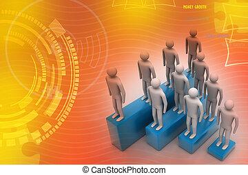 3D-Leute in der Gruppe, Führung.