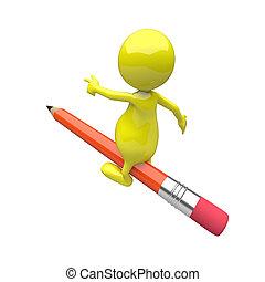 3D Leute mit Bleistiftantrieb