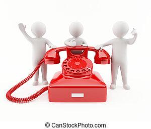3D Leute mit einem roten Telefon