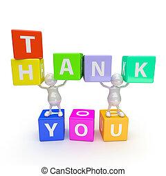 3D Leute mit einem Wort Danke