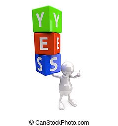 3D Leute mit Wort ja