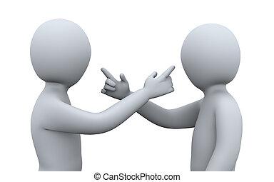 3D Leute streiten sich