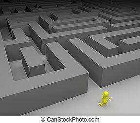 3D-Leute und Labyrinth