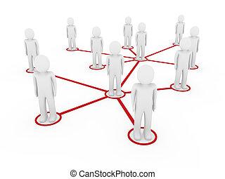 3D-Männer vernetzen soziales Rot.