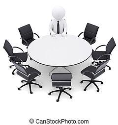 3D Mann am runden Tisch. Sieben leere Stühle