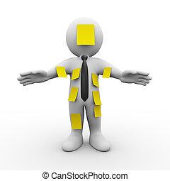 3D-Mann-Cover mit klebrigen Notizen